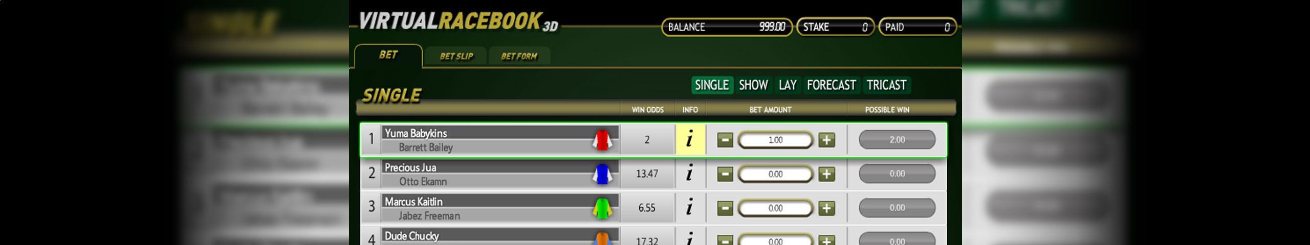 Virtual Racebook 3D Betsoft jocuri slot slider
