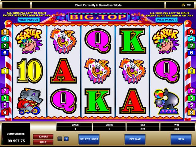 Big Top Microgaming jocuri slot screenshot