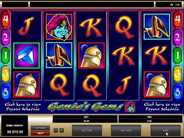 Genies Gems microgaming jocuri slot screenshot