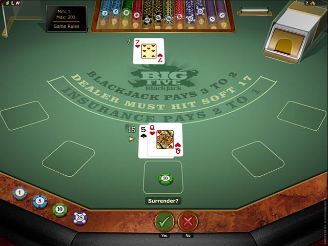 Big 5 Blackjack Gold Microgaming screenshot