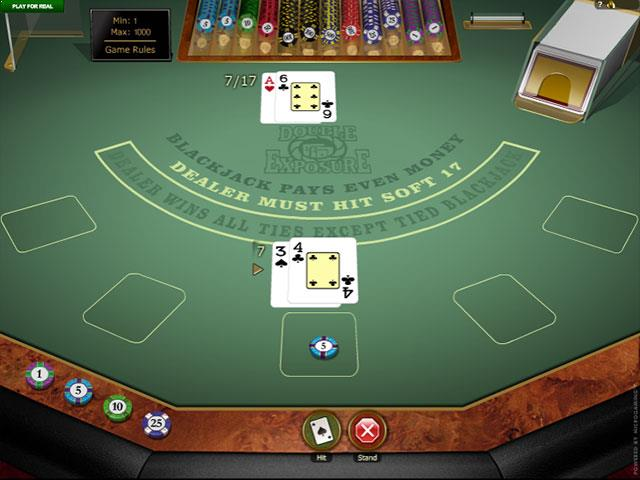 Double Exposure Blackjack Gold Microgaming screenshot