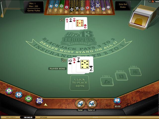 HiLo 13 European Blackjack Gold Microgaming screenshot