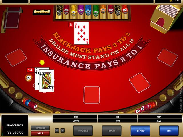 High Limit European Blackjack Microgaming screenshot