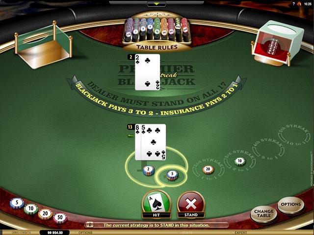Premier Blackjack High Streak Gold Microgaming screenshot