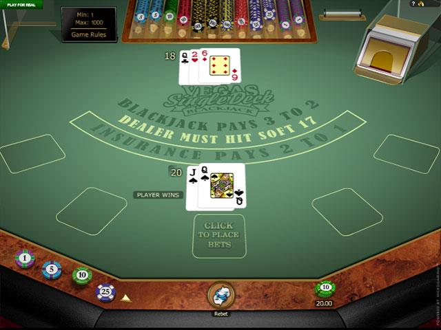 Vegas Single Deck Blackjack Gold Microgaming screenshot
